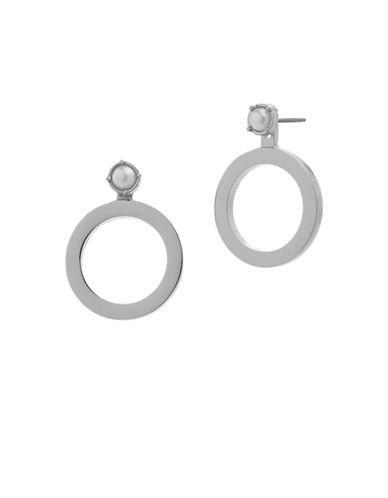 Steve Madden Pearls Pierced Earrings-SILVER-One Size