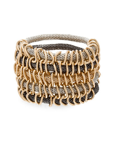 Steve Madden Multi-Tone Mesh Stretch Bracelet-GOLD-One Size