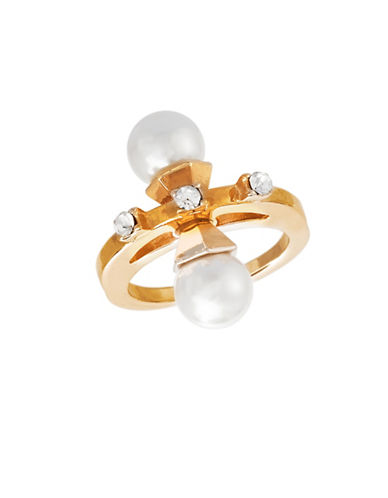 Steve Madden Pearl and Stone Goldtone Ring-GOLD-7