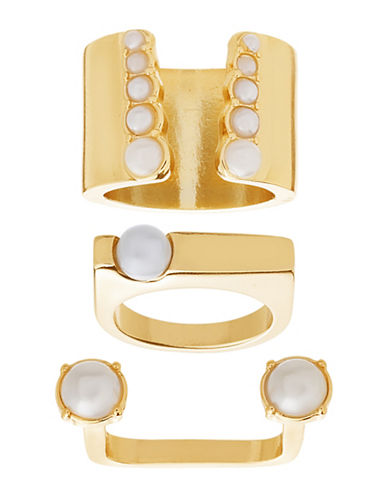 Steve Madden Three-Piece Open Work Squared Pearl Goldtone Ring-GOLD-7