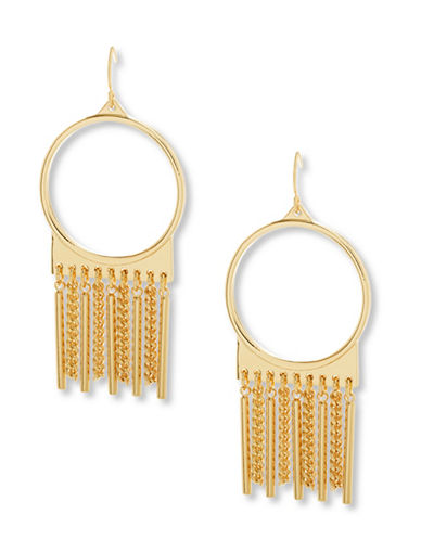 Steve Madden Fringed Drop Earrings-GOLD-One Size