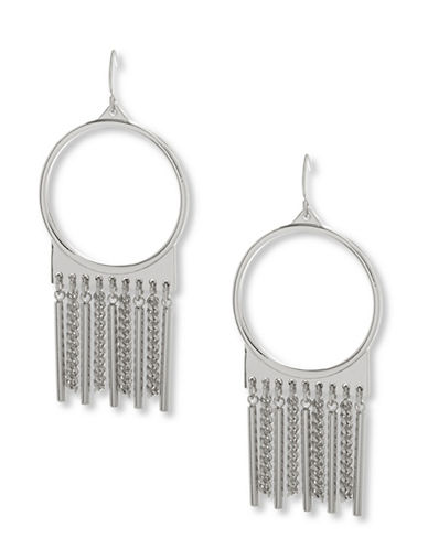 Steve Madden Fringed Drop Earrings-SILVER-One Size