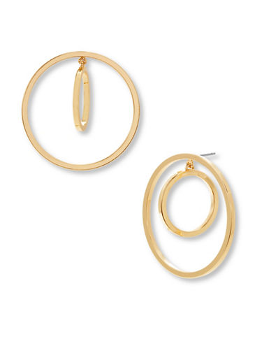Steve Madden Double Ring Front-to-Back Earrings-GOLD-One Size
