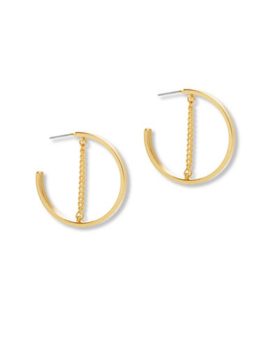 Steve Madden Small Open Hoop Chain Earrings-GOLD-One Size