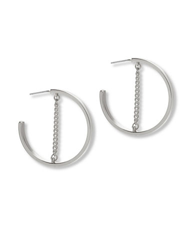 Steve Madden Small Open Hoop Chain Earrings-SILVER-One Size
