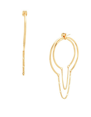 Steve Madden Front to Back Hoop Earrings-GOLD-One Size