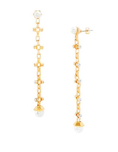 Steve Madden Faux Pearls Drop Earrings-GOLD-One Size