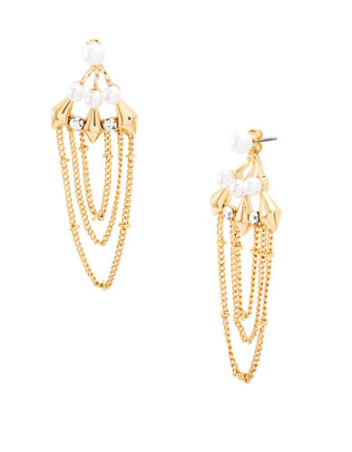 Steve Madden Faux Pearl Chain Front-to-Back Earrings-GOLD-One Size