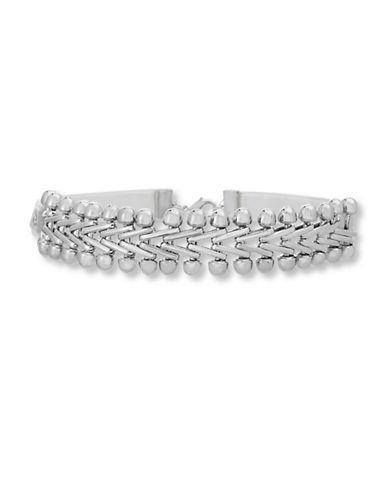 Steve Madden V-Link Choker Necklace-SILVER-One Size
