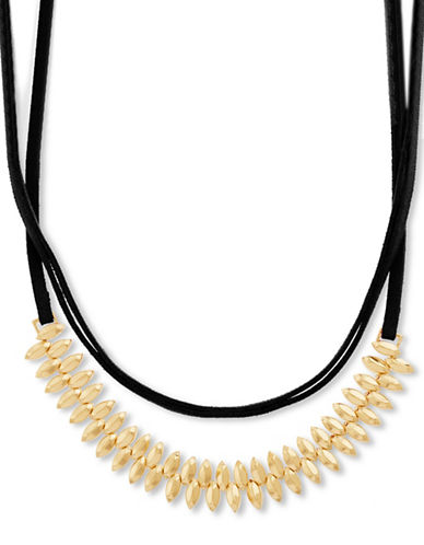Steve Madden Beaded Suede Wrap-Around Choker Necklace-GOLD-One Size