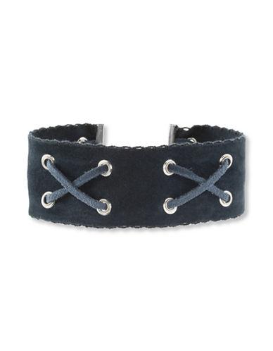 Steve Madden Suede Crisscross Choker Necklace-BLUE-One Size