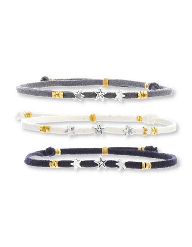 Steve Madden Three-Piece Two-Tonal Stars Suede Slider Bracelet Set-BLUE-One Size
