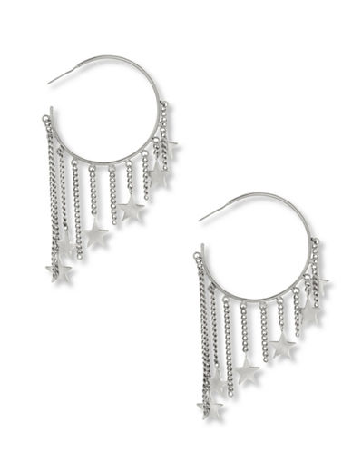 Steve Madden Dangling Star Charm Hoop Earrings-SILVER-One Size