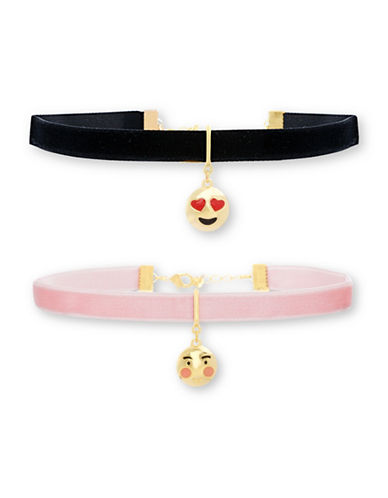 Steve Madden Two-Piece Heart and Blushing Face Charm Choker Necklace-BLACK-One Size