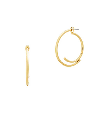 Steve Madden C-Shaped Front Back Earrings-GOLD-One Size