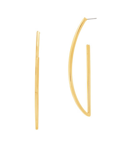 Steve Madden D-Shaped Drop Earrings-GOLD-One Size
