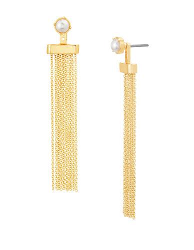 Steve Madden Faux Pearl Tassel Drop Earrings-GOLD-One Size