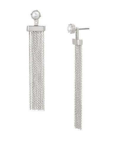 Steve Madden Faux Pearl Tassel Drop Earrings-SILVER-One Size