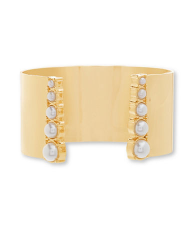 Steve Madden Faux Pearl Goldtone Cuff Bangle-GOLD-One Size