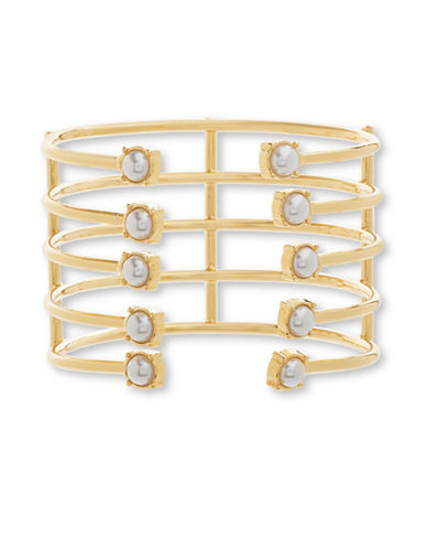 Steve Madden Faux Pearls Goldtone Layered Open Work Cuff Bracelet-GOLD-One Size