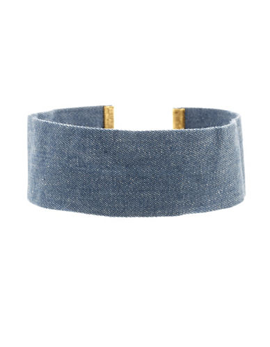 Steve Madden Thick Denim Choker Necklace-BLUE-One Size