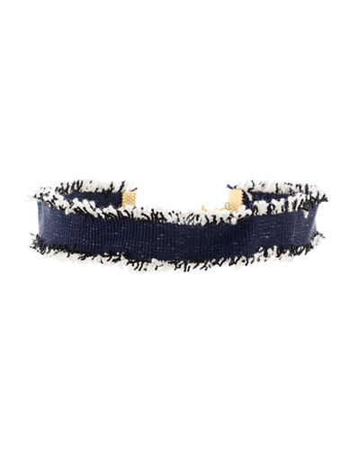 Steve Madden Denim Frayed Choker Necklace-BLUE-One Size