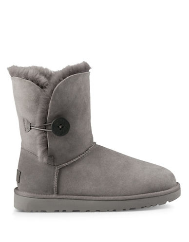 Ugg Classic Shearling Bailey Button Suede Boots-GREY-5
