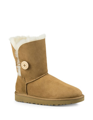 Ugg Classic Shearling Bailey Button Suede Boots-CHESTNUT-9