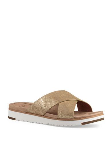 Ugg Kari Metallic Suede Crisscross Slide Sandals-GOLD-5