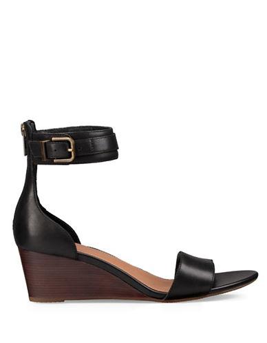 Ugg Daniella Leather Wedge Sandals-BLACK-7