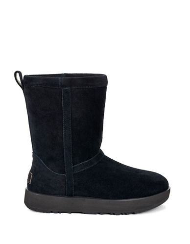 Ugg Classic Waterproof Suede Mid-Calf Boots-BLACK-10