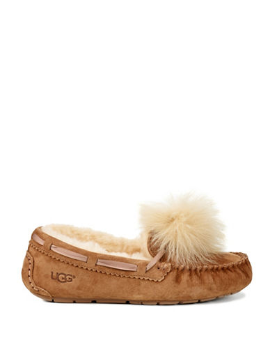 Ugg Dakota Fur Pom-Pom Suede Loafers-CHESTNUT-10