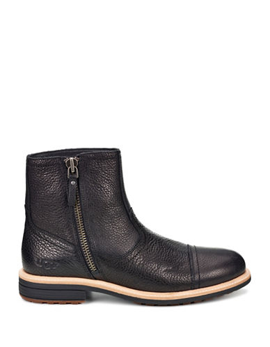 Ugg Dalvin Leather Ankle Boots-BLACK-8.5