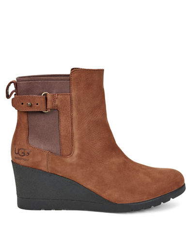 Ugg Indra Leather Wedge Booties-STOUT-5