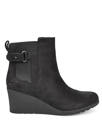 Ugg Indra Leather Wedge Booties-BLACK-8
