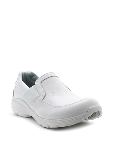 Nurse Mates Harmony Leather Slip-On Shoes-WHITE-9W