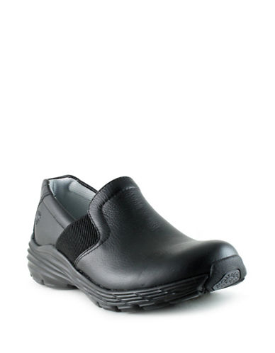 Nurse Mates Harmony Leather Slip-On Shoes-BLACK-7W