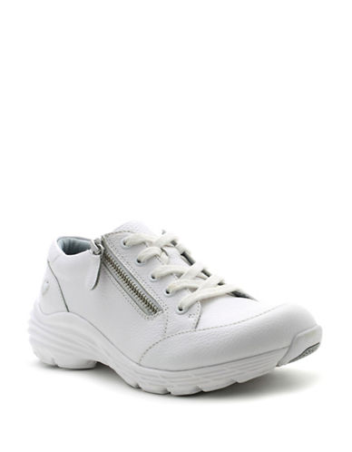 Nurse Mates Leather Stain-Resistant Lace-Up Shoes-WHITE-6.5