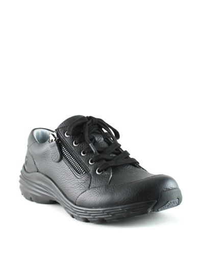 Nurse Mates Leather Stain-Resistant Lace-Up Shoes-BLACK-6W