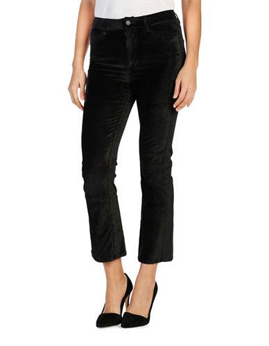 Paige Colette Crop Flare Overdyed Velvet Pants-BLACK-28