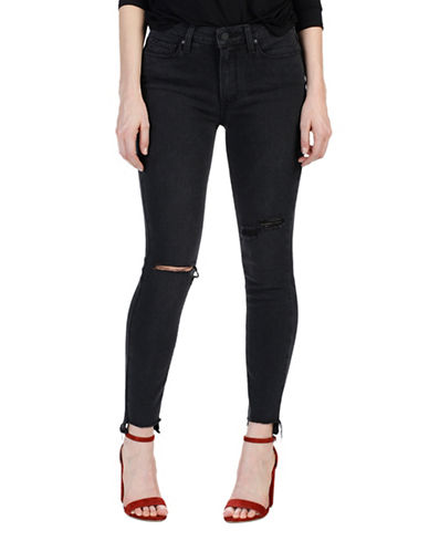 Paige Hoxton Ankle Destructed Skinny Jeans-BLACK-32