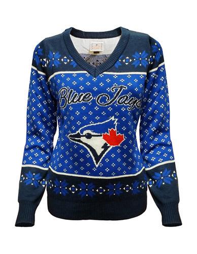 Klew Toronto Blue Jays Ugly V-Neck Sweater-BLUE/BLACK-Large