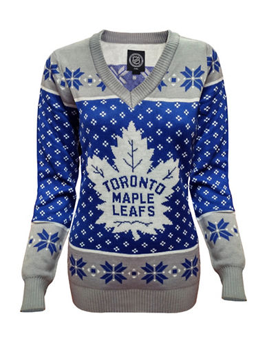 Klew Toronto Maple Leafs  V-Neck Ugly Sweater-BLUE/GREY-Small