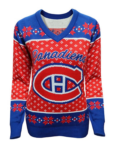 Klew Montreal Canadiens V-Neck Ugly Sweater-RED/BLUE-Medium