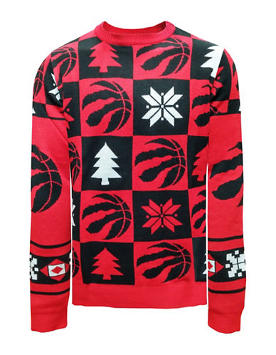 Klew Toronto Raptors Patchwork Sweater-RED-Large