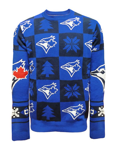 Klew Toronto Blue Jays Patchwork Sweater-ROYAL/BLACK-XX-Large