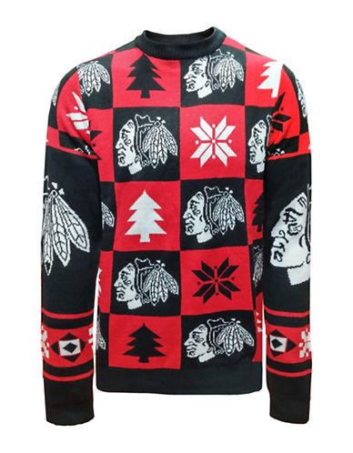 Klew NHL Chicago Blackhawks Ugly Patchwork Sweater-ASSORTED-Large