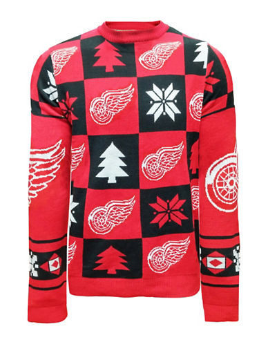 Klew NHL Detroit Red Wings Ugly Patchwork Sweater-ASSORTED-Large