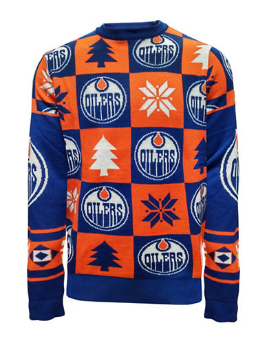 Klew NHL Edmonton Oilers Ugly Patchwork Sweater-ASSORTED-Small
