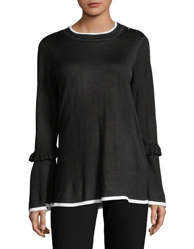Karl Lagerfeld Paris Wool-Blend Bell Sleeve Tunic-BLACK-Large